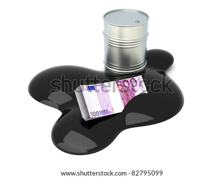 Euros drowned in oil. 3D rendered Illustration. Isolated on white.