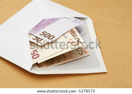 euros in an envelope-concept of prosperity