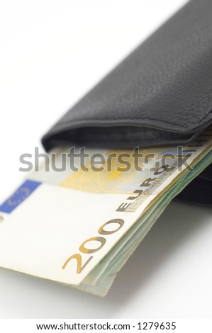 euros in leather wallet - stock photo