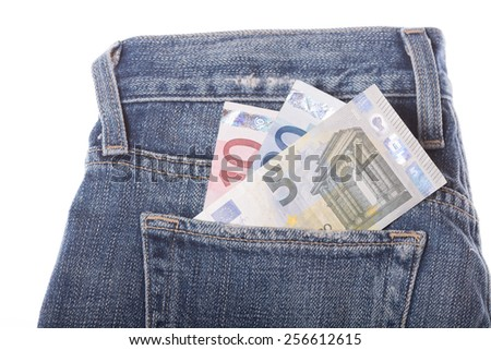 Euros in the jeans pocket - stock photo