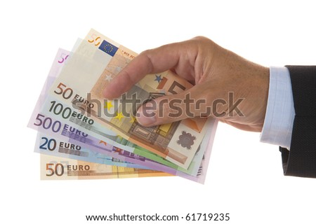 euros money in hand - stock photo