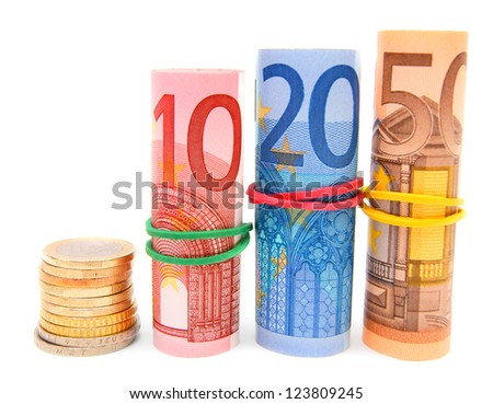 Euros of a banknote and a coin. On a white background.