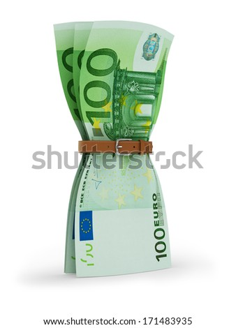 euros with tighten belt - financial crisis 3d concept - stock photo