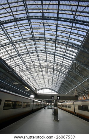Eurostar trains in the station of st pancras, london, england - stock photo