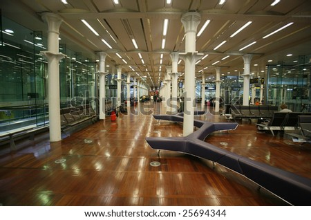 Eurostar waiting lounge in St Pancras, London in England - stock photo