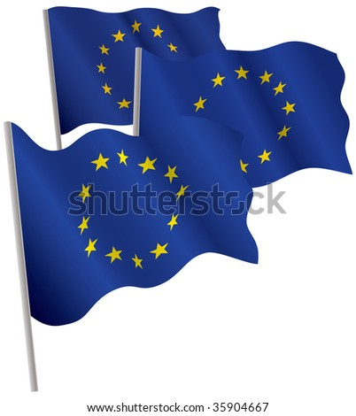 Eurounion 3d flag. Raster illustration. Isolated on white.