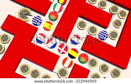 eurozone crisis - monetary policy - stock photo