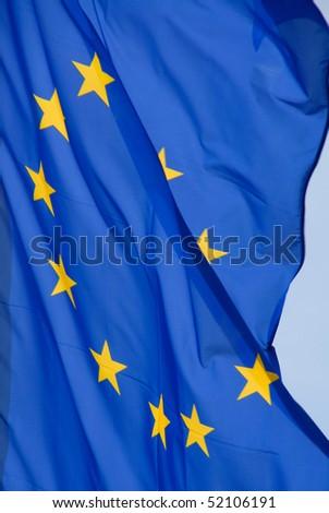 eurpean flag with golden stars - stock photo