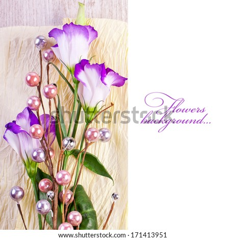 Eustoma flowers on white