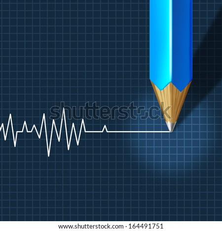 Euthanasia Medical Intervention as a medical health care concept of doctor social dilemma in end of life termination as a pencil drawing an ecg or ekg flatline or flat line on a monitor graph. - stock photo