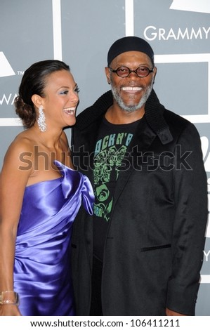 Eva La Rue and Samuel L. Jackson at the 51st Annual GRAMMY Awards. Staples Center, Los Angeles, CA. 02-08-09 - stock photo