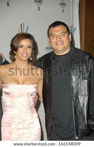 Eva Longoria, Carlos Mencia at the press conference for Alma Awards Nomination Announcement by National Council of La Raza, NCLR, The Peninsula Beverly Hills Hotel, Los Angeles, April 4, 2006