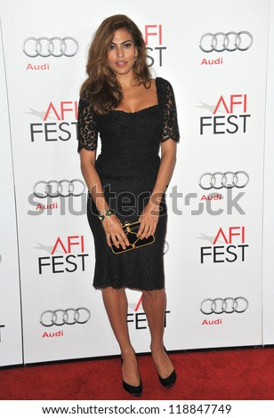 "Eva Mendes at the AFI Fest premiere of her movie ""Holy Motors"" at Grauman's Chinese Theatre, Hollywood. November 3, 2012  Los Angeles, CA Picture: Paul Smith - stock photo"