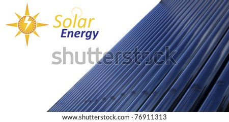 Evacuated tube solar collector panel with abstract graphics - stock photo