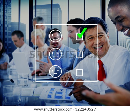 Evaluate Evaluating Evaluation Statistics Questionnaire Concept - stock photo