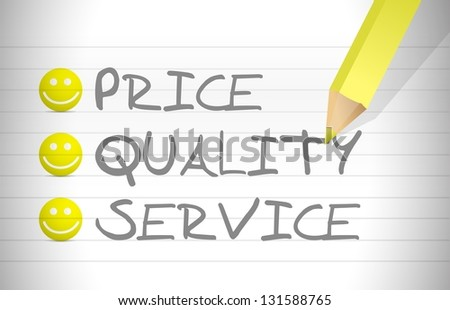 evaluate price, quality and service over a notepad - stock photo