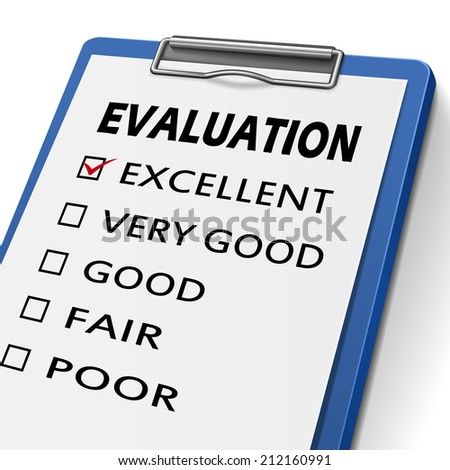 evaluation clipboard with check boxes marked for excellent, very good, good, fair and poor - stock photo