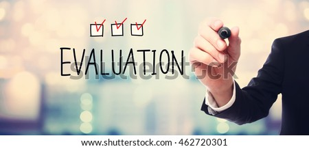 Evaluation concept with businessman on blurred abstract background
