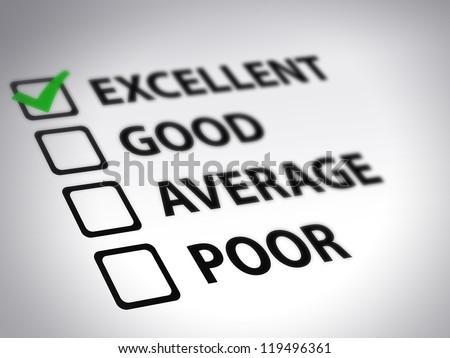 Evaluation form - excellent. excellent. survey. skills survey - stock photo