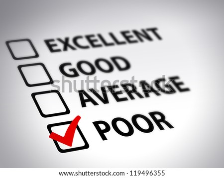 Evaluation form - poor - stock photo