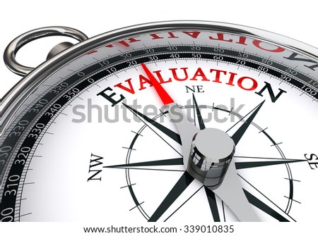 Evaluation red word on concept compass, isolated on white backround - stock photo