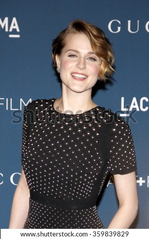 Evan Rachel Wood at the LACMA 2013 Art + Film Gala Honoring Martin Scorsese And David Hockney Presented By Gucci held at the LACMA in Los Angeles, USA on November 2, 2013.  - stock photo