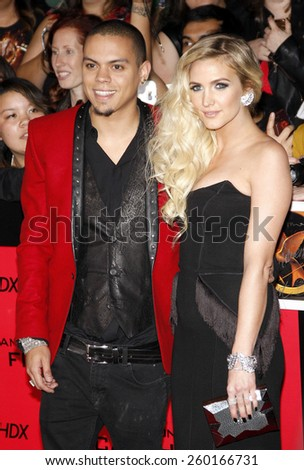 "Evan Ross and Ashlee Simpson at the Los Angeles premiere of ""The Hunger Games: Catching Fire"" held at the Nokia Theatre L.A. Live in Los Angeles on November 18, 2013."