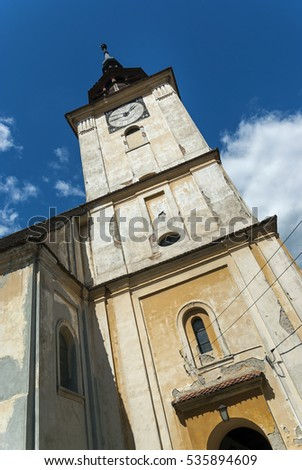 Evangelical Church tower in Sanpetru, Romania