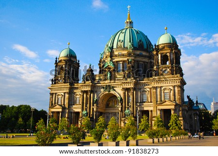 Evangelical neo-renaissance cathedral (Berliner Dom) on Museum Island in Berlin, Germany - stock photo