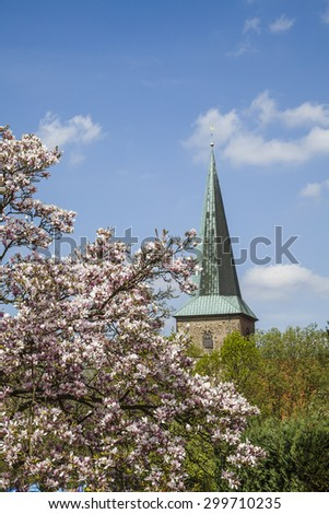 Evangelical St. Laurentius church in Schledehausen, Osnabrueck country, Lower Saxony, Germany (Protestant church) - stock photo