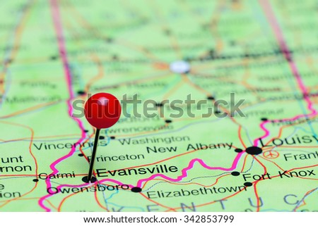 Evansville pinned on a map of USA  - stock photo
