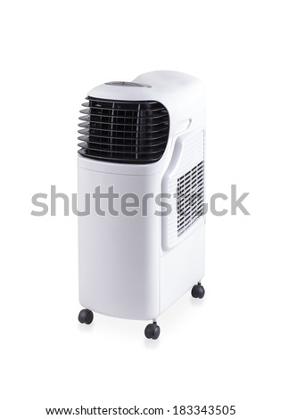 evaporative air cooler fan with ionizer isolated on white background - stock photo