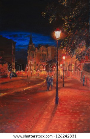 Evening Andrew's Descent. Andrew's Descent in Ukraine, Kiev in the evening. Oil on canvas painting. - stock photo