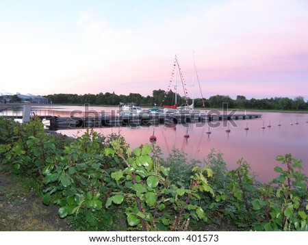 Evening at harbor - stock photo