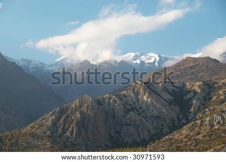 Evening at the mountains. Annapurna South, Nepal - stock photo