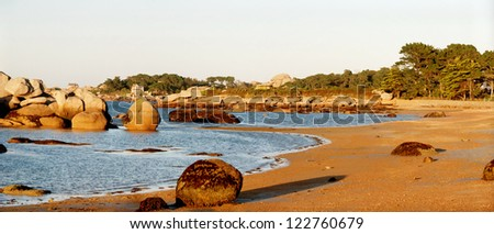 Evening at the pink granite coast in Brittany