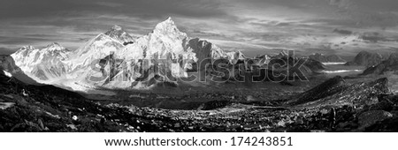 evening black and white panoramic view of Everest and Nuptse from Kala Patthar - trekking to Everest base camp - Nepal - stock photo