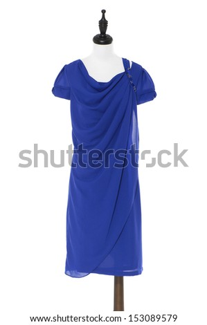Evening blue dress on a dummy isolated  - stock photo