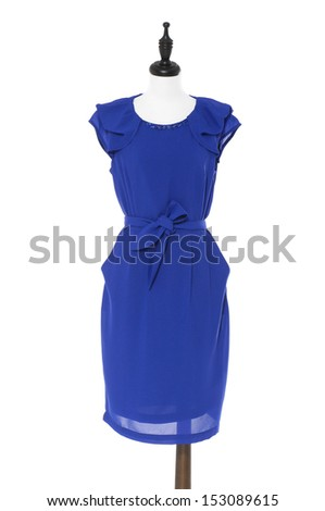 Evening blue dress on a dummy isolated on white - stock photo