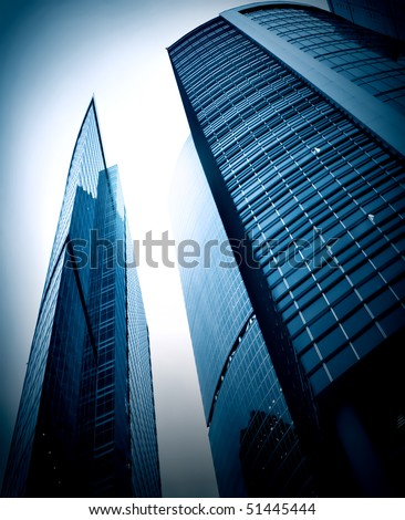 evening blue glass business center - stock photo