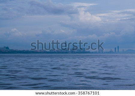 Evening blue seascape. - stock photo