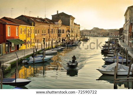 Evening canal in Murano, island near Venice, Italy - stock photo