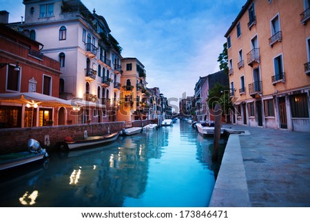 Evening canal in Venice near Calle Bastion Dorsoduro street  - stock photo