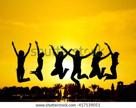 Evening Celebration Friends Silhouettes  - stock photo