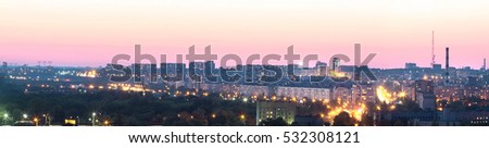 Evening city panorama view from the height, Zaporozhye, Ukraine