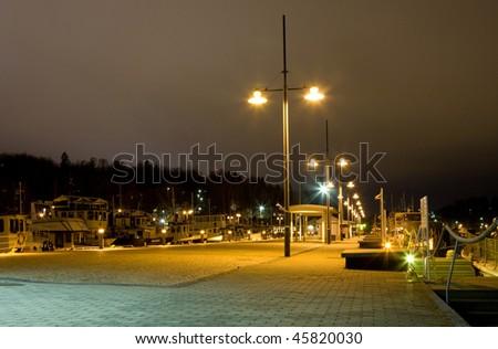 Evening cityscape of Lahti, Finland. Port - stock photo