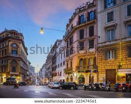 Evening cityscape. Streets of Rome city, Italy - stock photo
