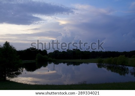 Evening Cloud Reflections - stock photo