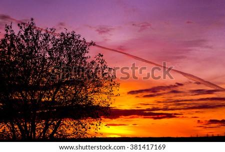 Evening Cloudscape Fiery Heaven  - stock photo