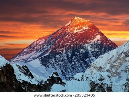 Evening colored view of Mount Everest from Gokyo Ri, Khumbu valley, Solukhumbu, Sagarmatha national park, Nepal  - stock photo